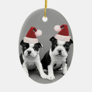 Christmas Boston terriers Ceramic Ornament