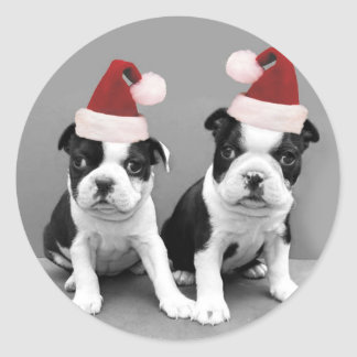 Christmas Boston Terriers Classic Round Sticker