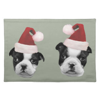 Christmas Boston Terriers Cloth Placemat
