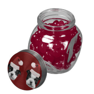 Christmas Boston Terriers Glass Jar