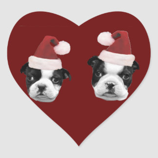Christmas Boston Terriers Heart Sticker