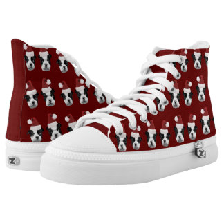 Christmas Boston Terriers  high top tennis shoes Printed Shoes