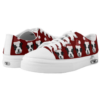 Christmas Boston Terriers Low-Top Sneakers