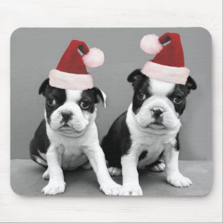 Christmas Boston Terriers Mouse Pad
