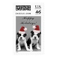 Christmas Boston Terriers postage