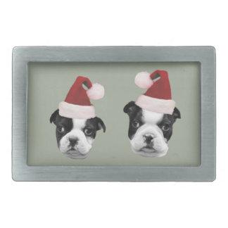 Christmas Boston Terriers Rectangular Belt Buckle