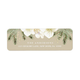 Christmas Botanical Watercolor Floral Foliage Label at Zazzle