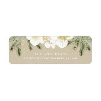 Christmas Botanical Watercolor Floral Foliage Label