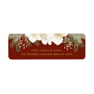Christmas Botanical Watercolor Flowers and Foliage Label