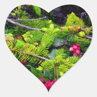 Christmas Bough Heart Sticker