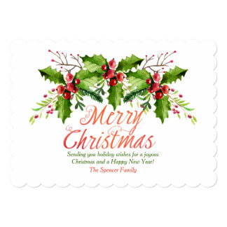 Christmas Boughs of Holly Holiday Card