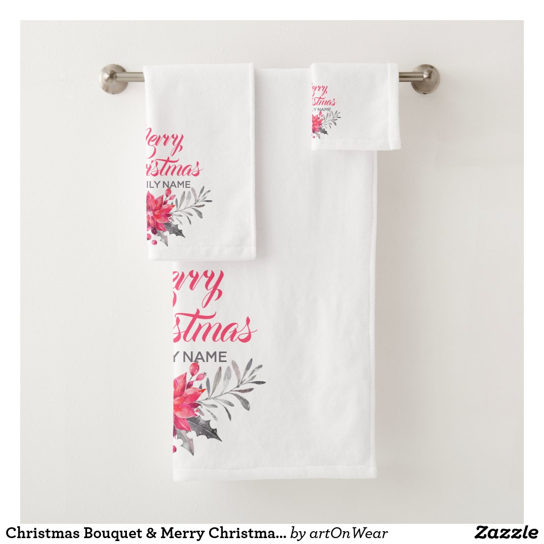 Christmas Bouquet & Merry Christmas Typography