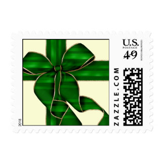 Christmas Bow-Green/Gold- Postage