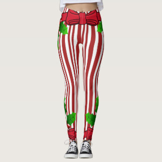 Christmas Bow & Holly Candy Cane Print Leggings