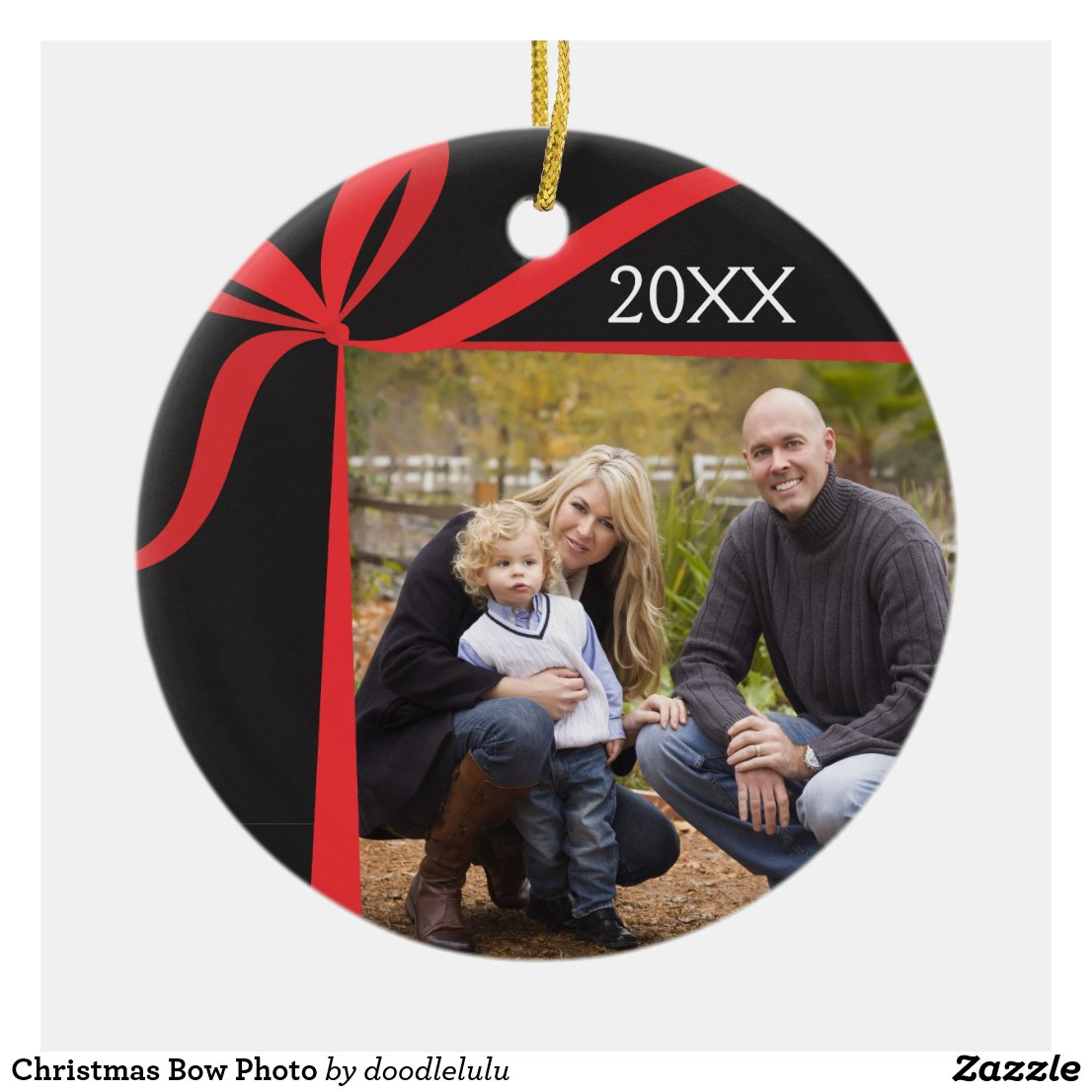 Christmas Bow Photo Ceramic Ornament