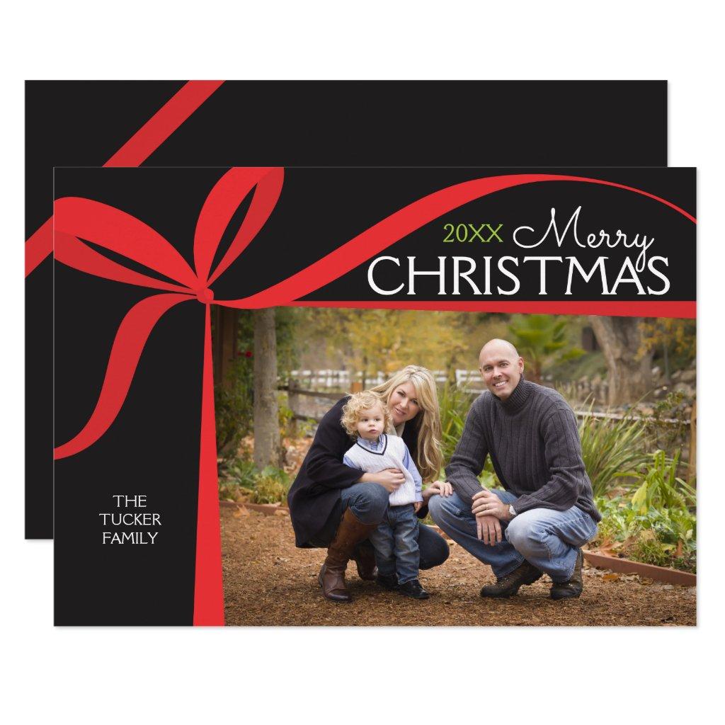 Christmas Bow Photo Invitation