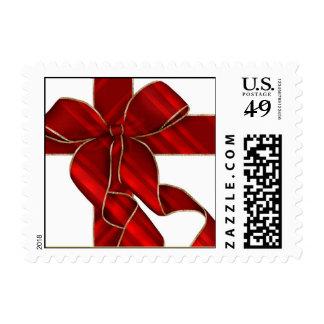 Christmas Bow Red-Holiday, Christmas, Stamp