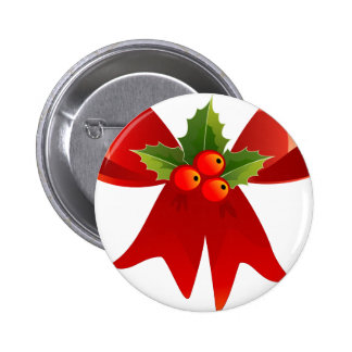 Christmas Bow with Holly Pinback Button