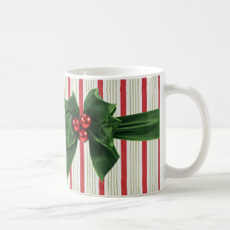 Christmas bow with striped background coffee mug