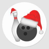 Christmas Bowling Ball and Pin Classic Round Sticker