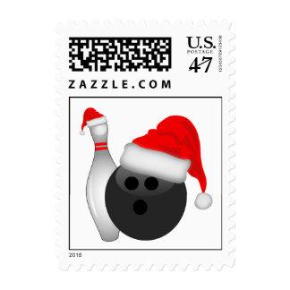 Christmas Bowling Ball And Pin Postage