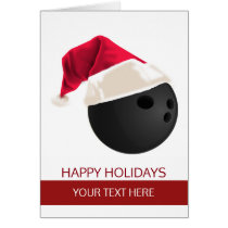Christmas bowling Ball Santa Hat Greeting Cards