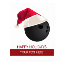 Christmas bowling Ball Santa Hat postCards