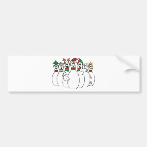 Christmas Bowling Pins Bumper Stickers