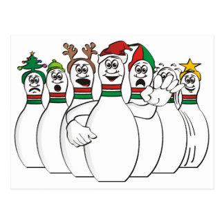 Christmas Bowling Pins Postcard