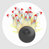 Christmas Bowling Strike Classic Round Sticker