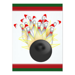 bowling christmas invitations zazzle