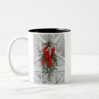 Christmas Bows and Bells Two-Tone Coffee Mug