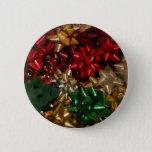 Christmas Bows Colorful Festive Holiday Button