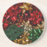 Christmas Bows Colorful Festive Holiday Coaster