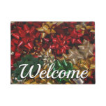 Christmas Bows Colorful Festive Holiday Doormat