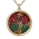 Christmas Bows Colorful Festive Holiday Gold Plated Necklace