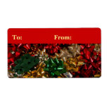 Christmas Bows Colorful Festive Holiday Label