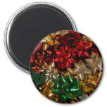Christmas Bows Colorful Festive Holiday Magnet