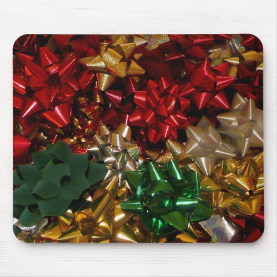 Christmas Bows Colorful Festive Holiday Mouse Pad