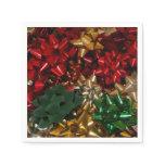 Christmas Bows Colorful Festive Holiday Napkin