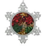 Christmas Bows Colorful Festive Holiday Snowflake Pewter Christmas Ornament