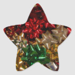 Christmas Bows Colorful Festive Holiday Star Sticker