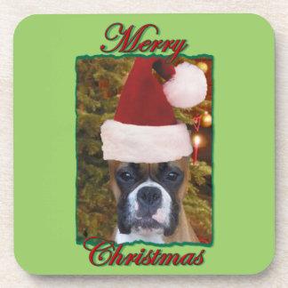 Christmas boxer dog beverage coaster
