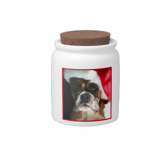 Christmas Boxer Dog Candy Dishes