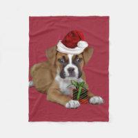 Christmas Boxer dog fleece blanket