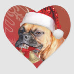 Christmas Boxer dog Heart Stickers