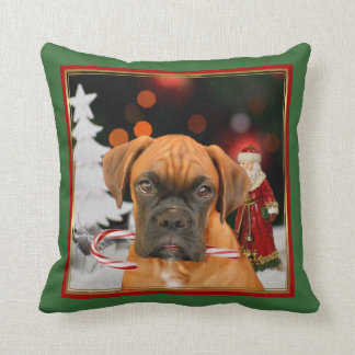 Christmas   boxer dog square throw pillow