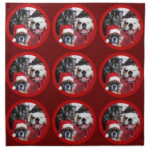 Christmas Boxer dogs Napkins