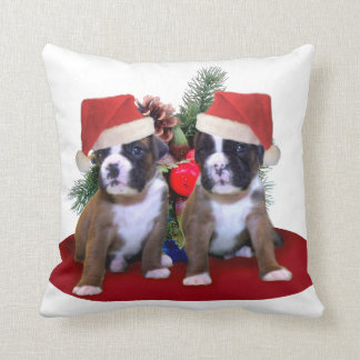 Christmas Boxer Dogs throw pillow