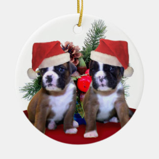 Christmas Boxer puppies ornament